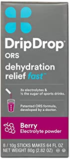 DripDrop ORS Electrolyte Hydration Powder Sticks, Berry, 10g Sticks, 8 Count