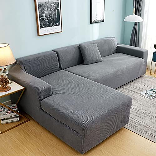 Plush soffa täcker för vardagsrum sammet elastisk hörn sektion soffa kärlek säte täcker fåtölj l-formade möbler slipcover för vardagsrum husdjur,Gray,4seaters235~300cm