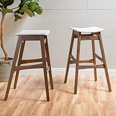 Oster Mid-Century Natural Beige Fabric/ Walnut Finish Bar Stool (Set of 2)