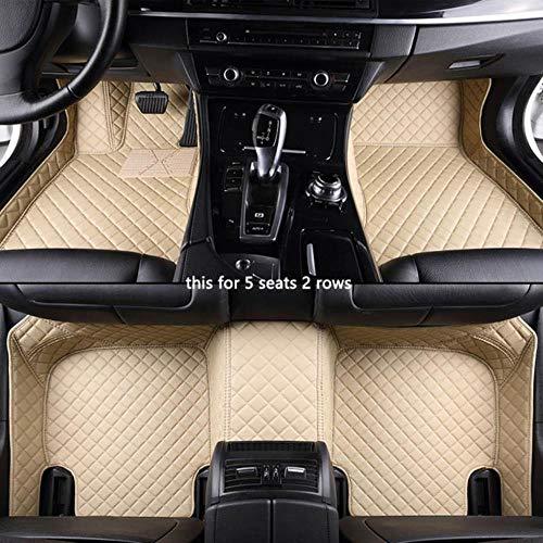 Youthus Alfombrillas Coche para Mercedes-Benz C W201 W202 W203 W204 W205 B W245 W246 W247 W242 Todos los Modelos Accesorios Coche Interior Cuero De PU Todo Clima 5 Asientos 2 Filas Beige