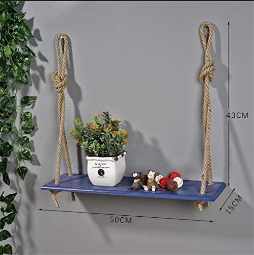 ChenDz Nordic Creative Salon Intérieur Mur En Bois Massif Charnue Vert Sauge Orchidée Pot De Fleur plateau Balcon Européen En Bois Stand De Fleurs (Color : Blue, Size : 1 tier)