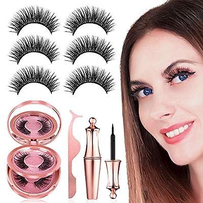 Magnetic Eyelashes with Eyeliner Kit, ?3 Pairs?Reusable Magnetic Eyelashes Full Eye, Come with Mirror and Tweezers, No Glue False Lashes, Easier To Use Than Traditional False Eyelashes