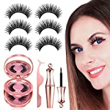 Magnetic Eyelashes with Eyeliner, 【3 Pairs】 Natural Look Magnetic Lashes with Tweezers, Reusable No Glue False Eyelashes for Daily Eyelashes Extension, Much Easier To Use Than Glue Fake Eyelashes