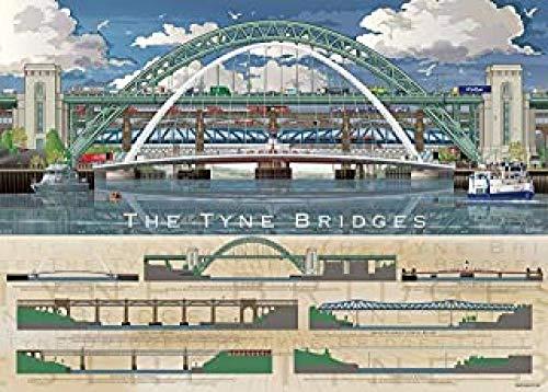 WOMGD® Houten puzzels 1000 stukjes, abstracte legpuzzel, dierenkat educatief spel Familie cadeau educatief speelgoed - The Tyne Bridges