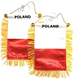 Poland Polish Flags for Cars Accessories Small Mini Banners declas Window Sticker Rearview Mirror Hanging Decoration Style Design prideHomes Gifts Flags Quality Made Mini Banners