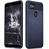 MobiTussion® (V Series) Google Pixel 2 XL Case Anti Slip Shock Resistant Hi-Out from Screen and from Camera for 360 Degree Protection Leather Texture Rugged Armor TPU Case for Google Pixel 2XL (Blue)