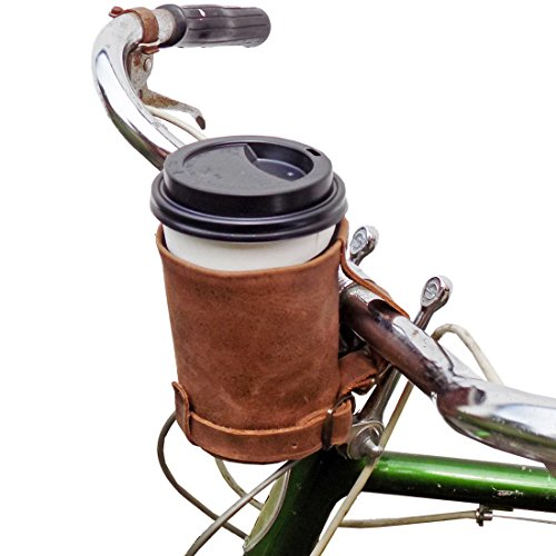 Hide & Drink, Cruzy Leather Bike Handlebar Cup Holder, Insulated Beverage Pouch for Commuters, Minimalist Bikers, Cyclers, City Nomads, Urban Nomad :: Bourbon Brown