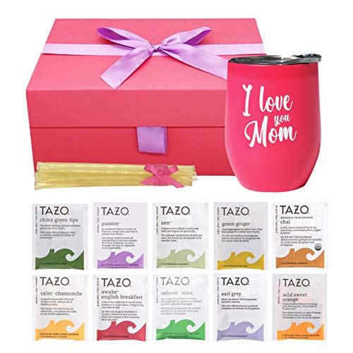 Gifts For Mom - Mom Gifts Tea Set Includes I Love You Mom Insulated Tea Cup 12 Tazo Teas & All Natural Honey | Mom Birthday Gifts or Mothers Day Gifts Presented in Beautiful Gift Box