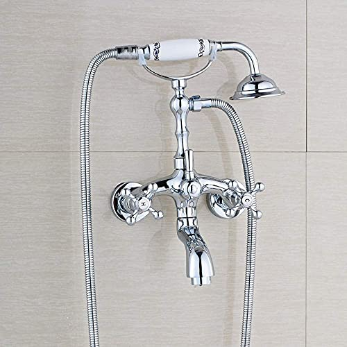 FACAZ Sistema de Ducha Moderno Pulido Acabado en Cromo Baño Grifo de la bañera Mezclador Montado en la Pared Grifo de Estilo telefónico