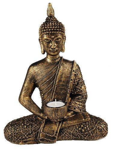 Großes Thai Buddha Teelicht Ornament, goldfarben / bronzefarben