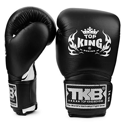 Top King Super Air - Guantes de Boxeo con Velcro, Color Blanco y Negro, Color Negro/Blanco, tamaño 280 g