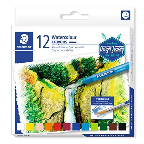 Staedtler 223 C12. Crayones acuarelables de colores variados. Caja con 12 lápices de cera para acuarela.