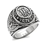US Military Veteran Ring - (Silver Color) War Veteran Jewelry Military Rings for Army, Navy, Marines, Air Force, Coast Guard - Officers Military gear with flag decal emblem design. (12)