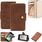 K-S-Trade® Handy-Hülle Für Blaupunkt SL02 Schutz-Hülle Walletcase Bookstyle Tasche Handyhülle Schutz Hülle Handytasche Wallet Flipcase Cover PU Braun (1x)