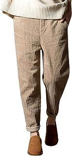 YideaHome レディース ロングパンツ コーデュロイ パンツ ゆったり 無地 テーパードパンツ ウエストゴム 秋 冬 ゆったり ポケット付き