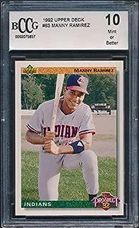 1992 Upper Deck #63 Manny Ramirez Rookie Card Graded BCCG 10