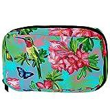 Bolsas de cosméticos TIZORAX Bird Butterfly con flor Handy Toiletry Travel Bag Organizador Bolsa de maquillaje para mujeres Niñas