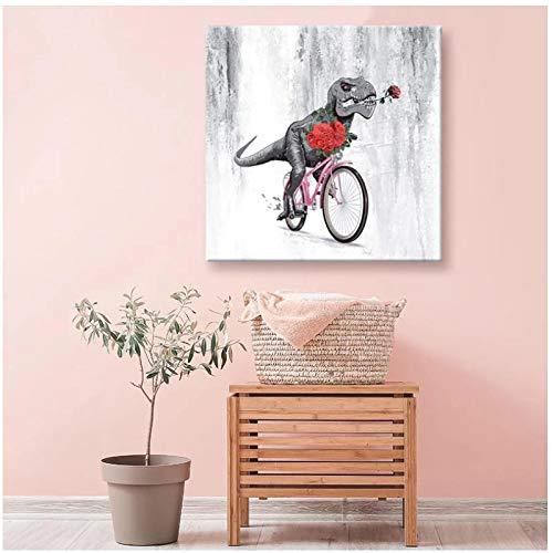 SYBS Nueva decoración Abstracta sin Marco Dinosaurio Montar en Bicicleta Arte de Pared impresión nórdica Lienzo Pintura Carteles e Impresiones Cuadros de pared-16x16 Pulgadas (40x40cm) sin Marco