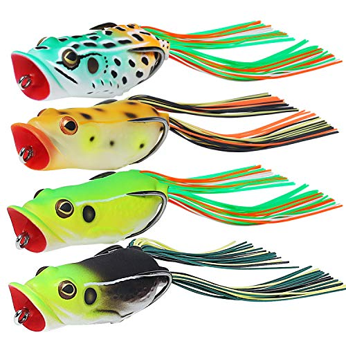TRUSCEND Fishing Lures 2.2' Japan Design Swimbait Popping Frog Topwater Soft Baits Weedless BKK Hooks for Bass Musky Trout Fishing Tackle Freshwater Floating Artificial Lifelike Lures