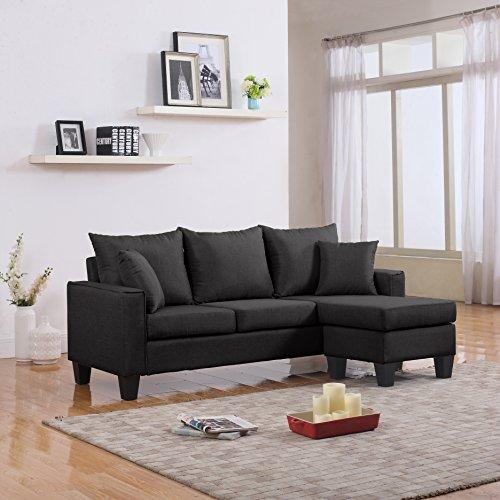 Divano Roma Furniture Modern Sectional, Dark Grey