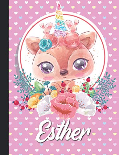 Esther Personalized Unicorn Reindeer Sketchbook For Girls With their Name,Kindergarten to Early Childhood School sketchbook: Esther Birthday Gift ... - 110 Pages, , Soft Cover, Matte Finish