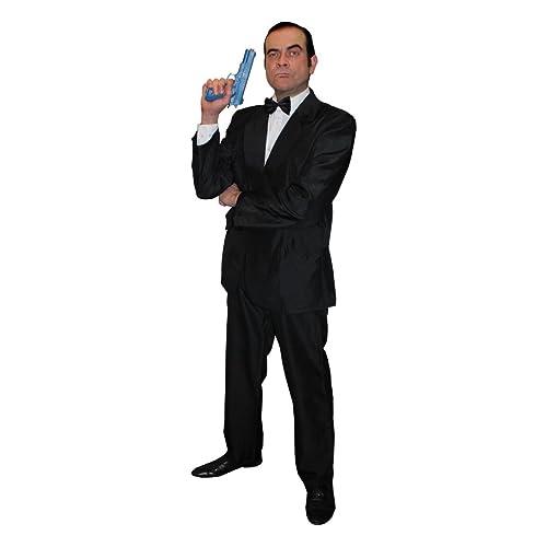 CHILD SECRET AGENT COSTUME BLACK SUIT GLASSES TV FILM FANCY DRESS COSTUME