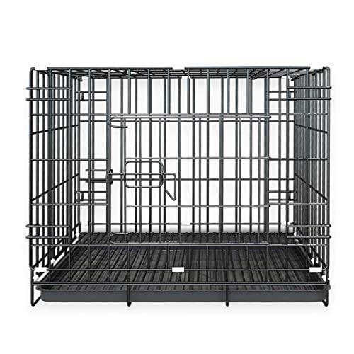 ZHANTH Jaula para Perros Jaula para Perros PequeñOs, Jaula para Mascotas Plegable de 24 Pulgadas, Perrera para Perros de Metal para Interiores y Exteriores, con Bandeja de PláStico
