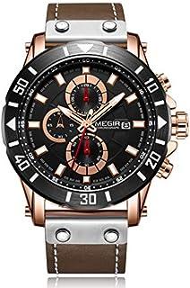 ساعة كوارتز للرجال من ميجر بشاشة عرض كرونوغراف وسوار من الجلد - 2081G