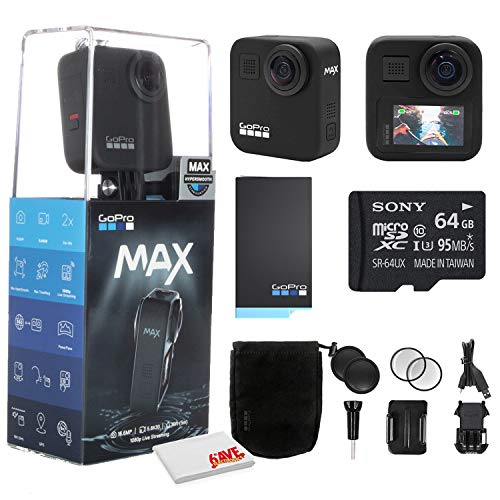 GoPro MAX 360 Waterproof Action Camera - Camera W/Touch Screen - Spherical 5.6K30 HD Video - 16.6MP 360 Photos - 1080p Live Streaming Stabilization - with Cleaning Set + 64GB Memory Card and More.