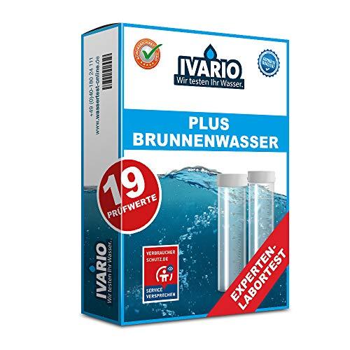 IVARIO Brunnenwasser Plus Wassertest mit Experten-Analyse im Deutschen Fachlabor mit 19 Prüfwerten/24h-Versand/kostenloser Rückversand/Leichte Probenahme