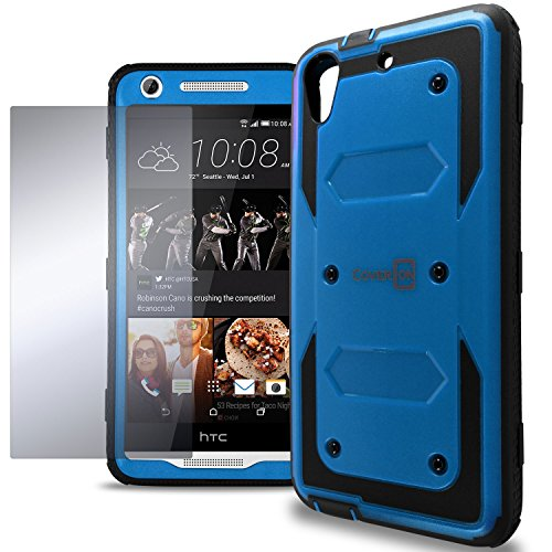 HTC Desire 626s Case, HTC Desire 626 Hard Case, CoverON Tank Series Full Body Front and Back Heavy Duty Hard Protective Phone Cover - Blue