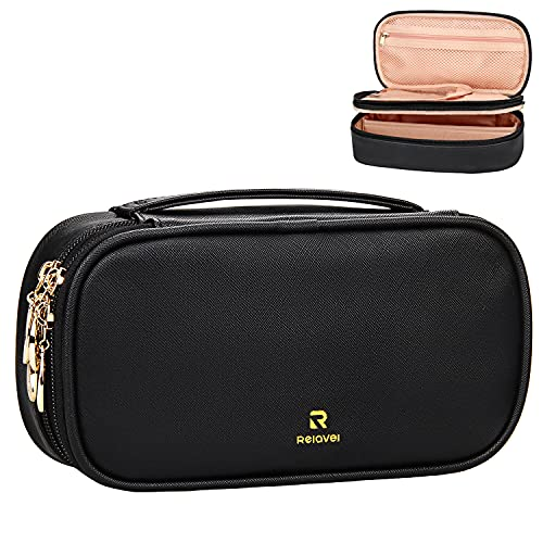 Makeup Bag, Relavel Small Travel Makeup Bag Cosmetic Bags for Women Girls Dual Layer Compact Makeup Storage Brush Holder Organizers Black Zipper Pouch Cosmetic Case (Small, Black)
