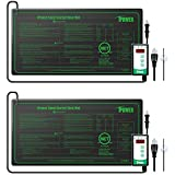 iPower GLHTMTCTRLV2HTMTSX2 2-Pack 40-108 Degrees Fahrenheit Digital Heat Mat Thermostat Controller and 10' x 20.5' Seeding Warm Hydroponic Pad, Black