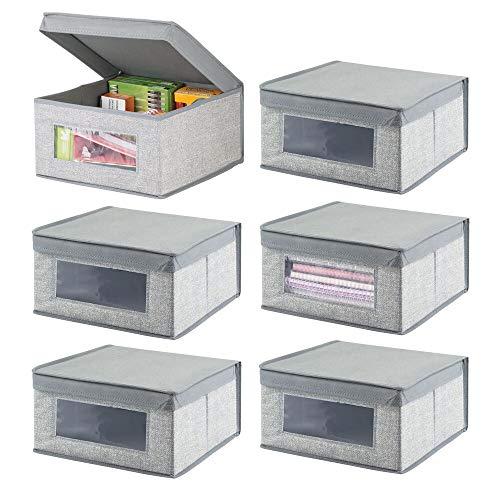 mDesign Juego de 6 Cajas organizadoras de Tela – Caja de almacenaje apilable para ordenar armarios, Zapatos o Ropa – Organizador de armarios con Tapa y ventanilla – Gris