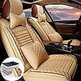Qiaodi Ensemble de housses de siège avant en cuir de luxe pour Mercedes-Benz Classe A Classe B Classe C GLE GLK GLS SL SLC SLK Compatible avec les protections de siège d'airbag (Couleur : beige)