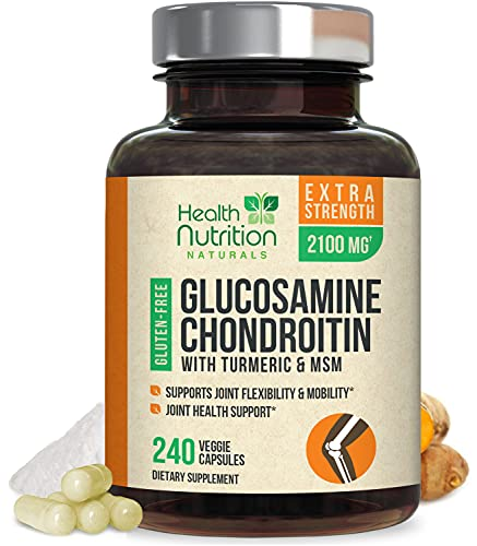Glucosamine with Chondroitin Turmeric MSM, Triple Strength 2100mg, for Hip, Knee, Joint & Back Comfort - Made in USA - Joint Supplement with Boswellia & Bromelain. Non-GMO - 240 Capsules
