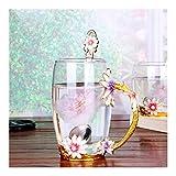 Entretenimiento Creativa resistentes al calor regalos de boda de cristal Copa de cristal esmalte tazas de agua taza de té café con la cuchara Set Inicio leche Taza de Navidad Vaso ( Color : Blue )
