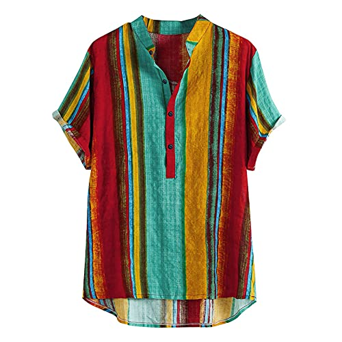 Hawaiian Tops for Men Cotton-Linen Colorful Striped T-Shirts Henry Collar Button Short Sleeve Summer Casual Funky Tee