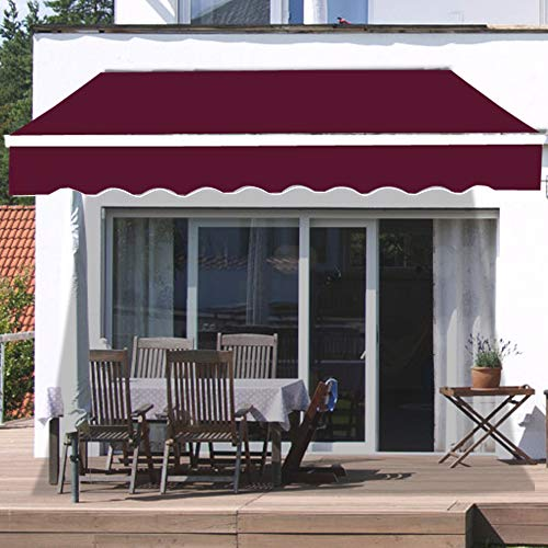 Greenbay 2.5 x 2m DIY Patio Retractable Manual Awning Garden Sun Shade Canopy Gazebo Wine Red with...