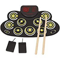 Pengda Foldable Electronic Drum Set with Built in Speakers for Beginners (Yellow)