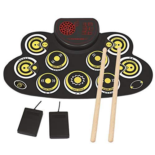 Elektronisches Schlagzeug Set 9 Pads Elektrische Trommel Tragbares Kinder, Anfänger Schlagzeug E-drum mit eingebaute Lautsprecher und Sticks für Weihnachten und Geburtstag (Gelb)
