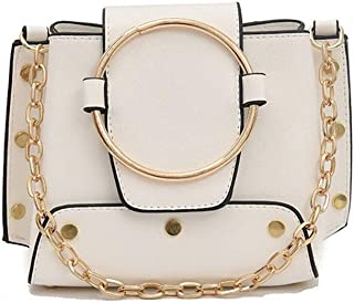 New Exquisite And Beautiful Trendy Casual Fashion Portable Slung Shoulder Small Leather Handbag. jszzz (Color : White)
