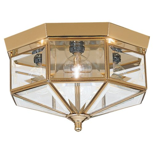 Sea Gull Lighting 7662-02 4-Light Hall and Foyer Ceiling Fixture, Clear Beveled Glass Panels and Polished Brass