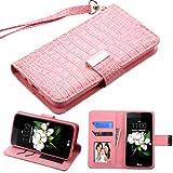 Case+Stylus, PU Leather Purse Clutch Fits LG L52VL Treasure LTE/K373 Escape 3/ K350 K8/LS675 Tribute 5/MS330 K7 /K371 (Phoenix 2) MYBAT Pink Crocodile-Embossed MyJacket Wallet