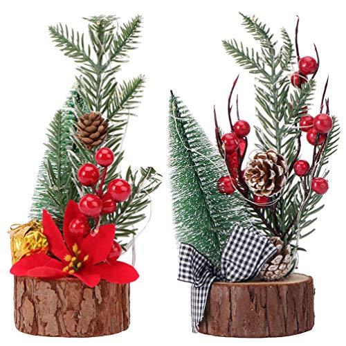Amosfun - Árbol de Navidad con base de madera, 2 unidades, diseño de árbol de Navidad con luz de árbol de Navidad y bayas rojas para Navidad (con batería de botón)