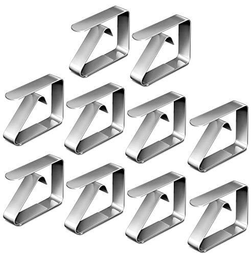 ZIMAIC Pinzas para manteles, 10 unidades, de acero inoxidable, para mesa, para restaurantes, fiestas, picnics, bufés