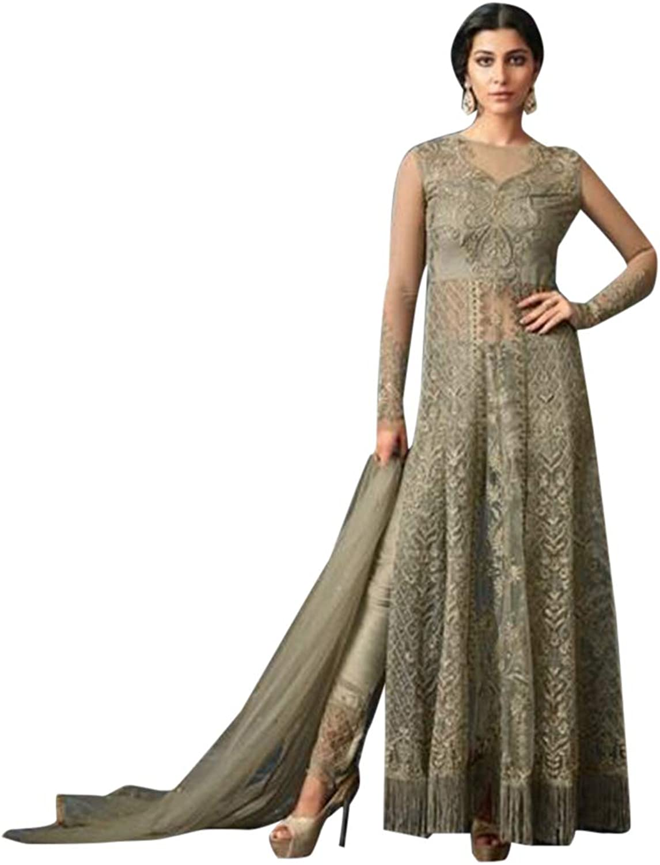 Pure Silk Anarkali suit Side Split Net with Embroidery Indian Muslim Ethnic Festive Apparel 7206 1