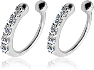 OwMell s925 Sterling Silver Round Retro Carved Ear Cuff Wrap Earring No Piercing For Men & Women