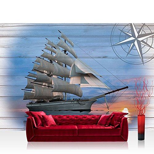 Vlies Fototapete 208x146cm PREMIUM PLUS Wand Foto Tapete Wand Bild Vliestapete - Meer Tapete Segelschiff Seerose Windjammer Hohe See blau - no. 3183