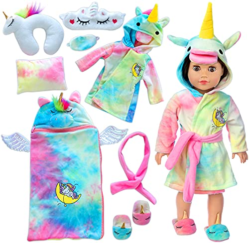 Ecore Fun American 18 inch Girl Doll Clothes and Doll Sleeping Bag Set -Unicorn-Nightgown with Matching Sleepover Masks & Pillow -Dolls Accessories for Kids-Best Gifts